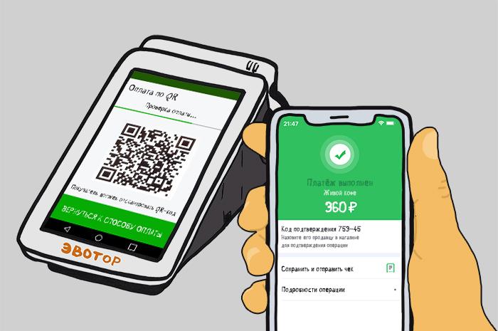 Оплата по QR коду через Сбербанк Онлайн на кассе Эвотор